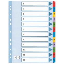 Intercalaire De Séparation 12 Positions A4 Coloré