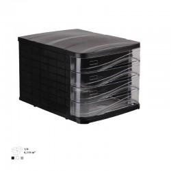 Bloc Tiroirs 4 étage ARK / Noir & Transparent