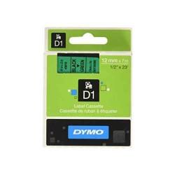 Ruban D1 DYMO 12mm x 7m Noir / Vert