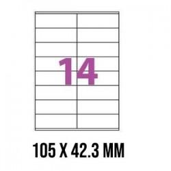 ETIQUETTES ADHESIVES TOPSTICK 105 x 42,3 MM 100 FEUILLES BLANC