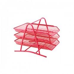 Corbeille à courrier Métallique 3 étages - Rouge