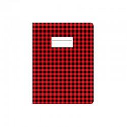 Protège cahier Carreau - 17 x 22 cm - Rouge