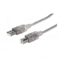 Cable USB Manhattan Pour Imprimante Transparent 1.8m