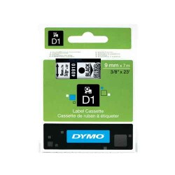 Ruban D1 DYMO 12mm x 7m Noir / Transparent