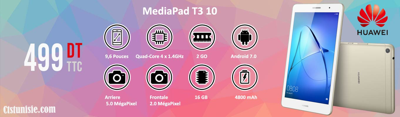 "Tablette HUAWEI MediaPad T3 10"" 4G Gold"