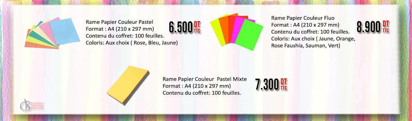 Différents choix de papier couleurs Fluo et Pastel